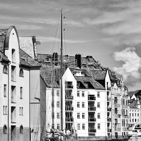 Home port by Cathleen Steele - Black & White Buildings & Architecture ( sailboat, reflection, harbor, monochrome, clouds, quiet, serene, architecture )