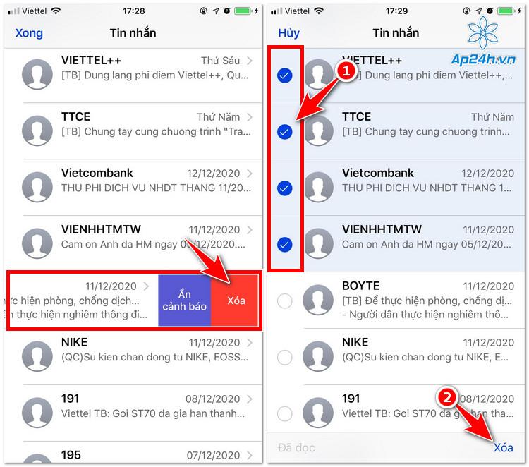 Xóa lẻ hoặc hàng loạt tin nhắn iPhone