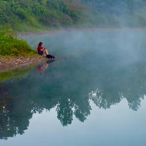 misty morning by Jeff Sluder - Landscapes Waterscapes ( woman, lake, dog, mist )