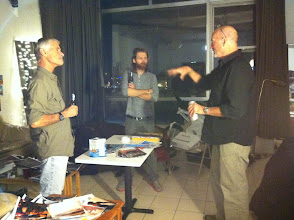Photo: James Nachtwey and George over for a beer