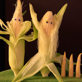 what a corny family by Rose Johnson - Food & Drink Fruits & Vegetables ( fall, pwc vegetables, yellow, mini corn, corn )