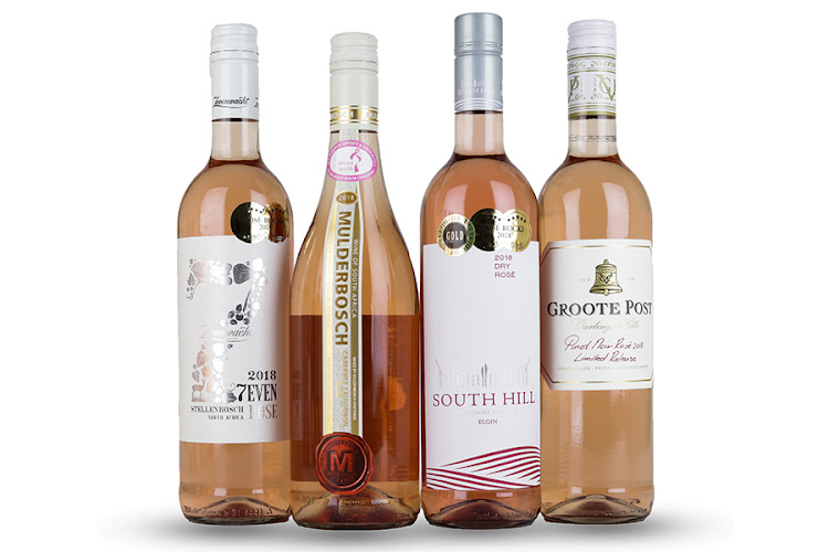 Rosé Rocks! rosé wine competition winners and Wade Bales' favourites: Zevenwacht 7even Rosé, Mulderbosch Cab Sauv, South Hill Dry Rosé, Groote Post Pinot Noir Rosé.