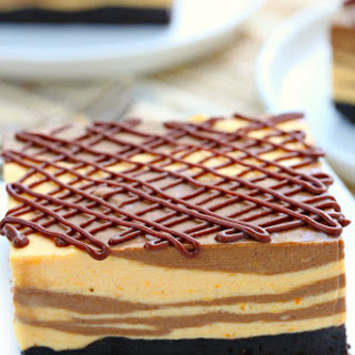 Marble No Bake Chocolate Pumpkin Cheesecake Bars