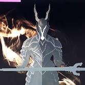 Pixel art of a Black Knight from Dark Souls