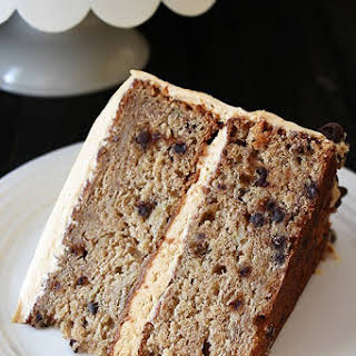 Banana Chocolate Chip Cake with Peanut Butter Frosting.