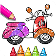 Glitter Coloring Book For Kids - Vehicles icon