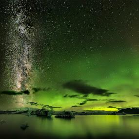 Lights up by Kaspars Dzenis - Landscapes Starscapes ( glacier, milkyway, jokulsarlon, iceland, northern lights, aurora, night, landscape )