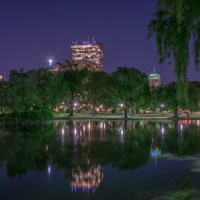 Boston Public Gardens by Paul Gibson - City,  Street & Park  Night ( reflection, night photography, boston, long exposure, nightscape )