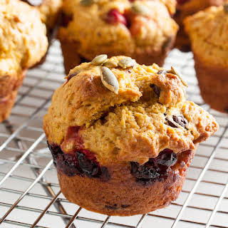 Pumpkin Muffins With Cranberries And Chocolate.