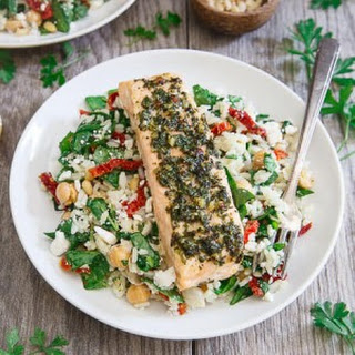 Garden Pesto Salmon with Mediterranean Rice