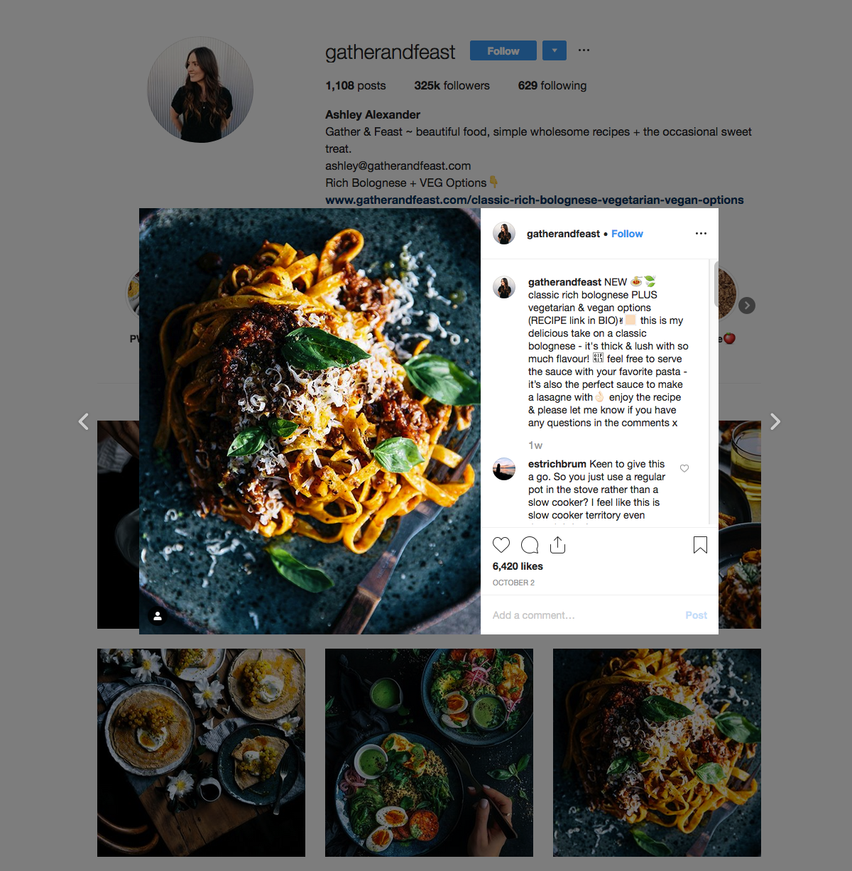 Gather and Feast - Ashley Alexander - Instagram Food Influencer