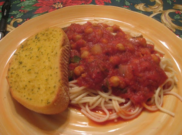Chick Pea Spaghetti Dinner (meatless) Recipe