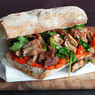 Pork Sandwich with Romesco Sauce.