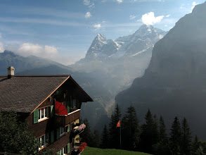Photo: The next day we take the train up to Murren, where we get good views of the Eiger and the Monch.
