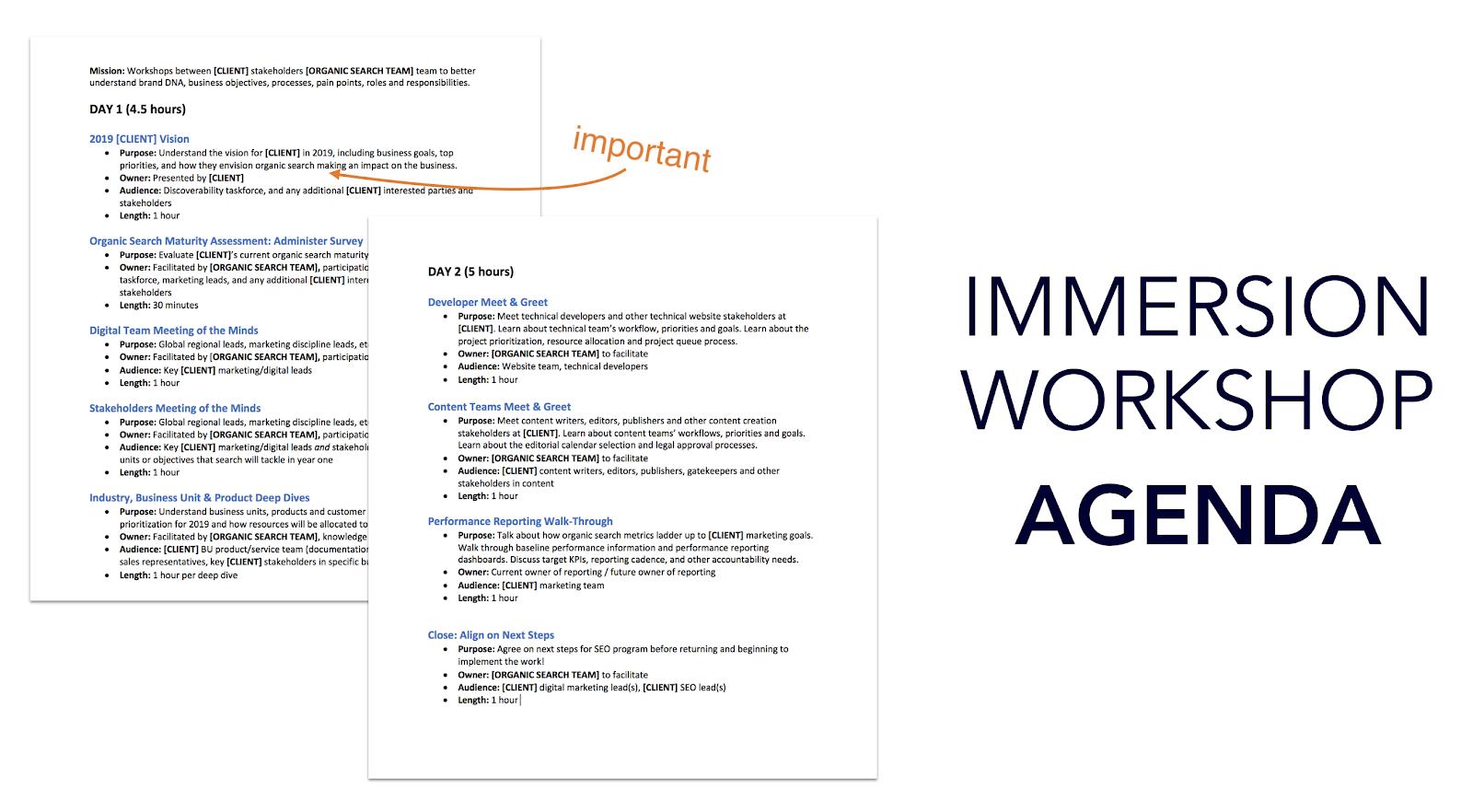 Immersion workshop agenda