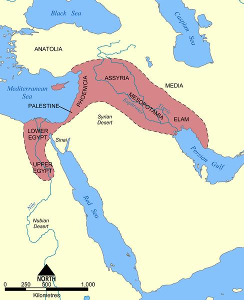 Map of Mesopotamia illustrating the spread of civilization in the Fertile Crescent.
