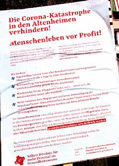 Plakat: «Die Corona-Katastrophe in den Altenheimen verhindern! …».