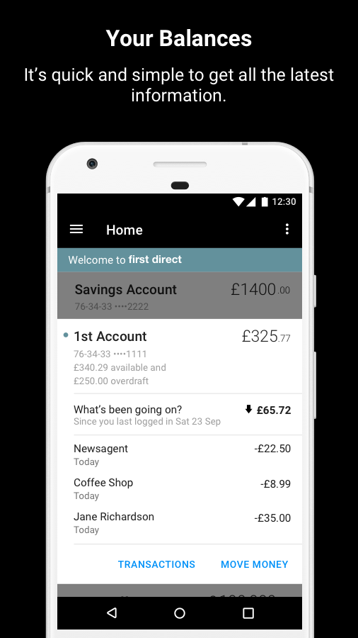 first direct Banking on the go- screenshot