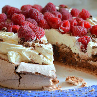 Double Chocolate Pavlova with Mascarpone Cream and Raspberries.