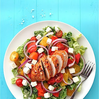 Smoky Lemon Chicken Salad with Roasted Peppers and Avocado.