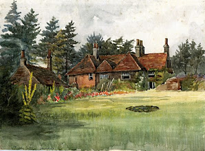 """Photo: Treeps, Wallace's wife's family home in Hurstpierpoint, Sussex. Wallace and Annie lived here for a year from mid 1867, and Wallace wrote """"The Malay Archipelago"""" here. A watercolour painting by Annie Wallace. First published on this website in 2010. Scanned with permission from the original owned by the Wallace family. Copyright of scan and owner of Publication Right: A. R. Wallace Memorial Fund."""