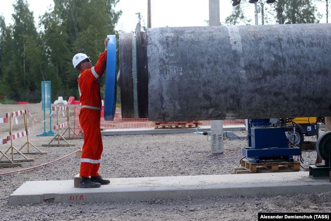 Будівництво газогону «Північний потік - 2» у Ленінградській області Росії