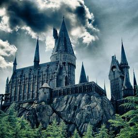Hogwarts Castle HDR by T.J. Wolsos - City,  Street & Park  Amusement Parks ( hogwarts, amusement park, universal studios, harry potter, castle )