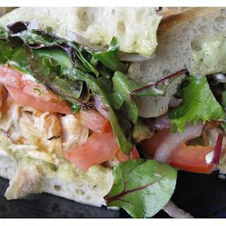 Chicken Pesto Focaccia Sandwich.