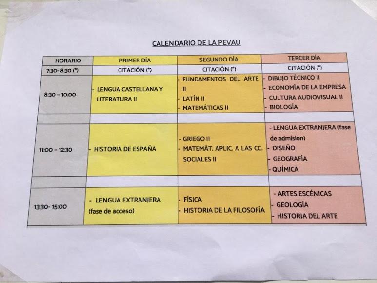Calendario de las pruebas de este año.