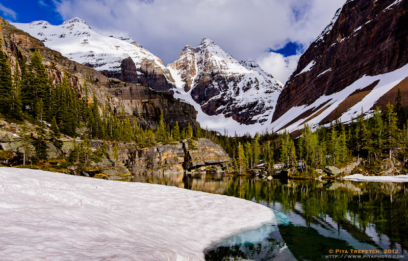 Photo: We were lucky to secure bus ride and the campground at Lake O'Hara. There was still quite a fair bit of snow left on the trail in early July and Lake Oesa was still completely ice-covered. #landscapephotography