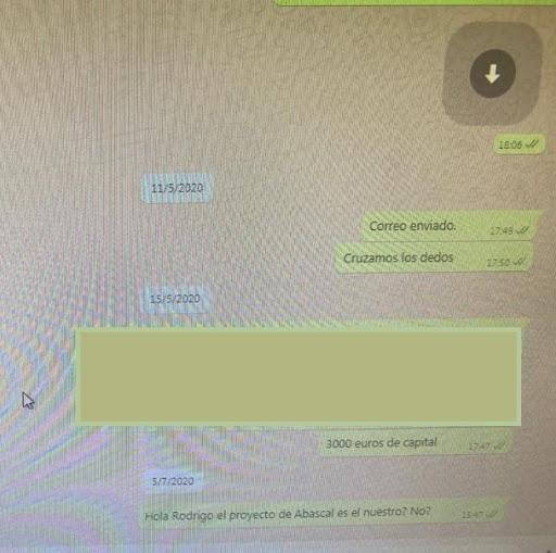 Captura de pantalla de las conversaciones.