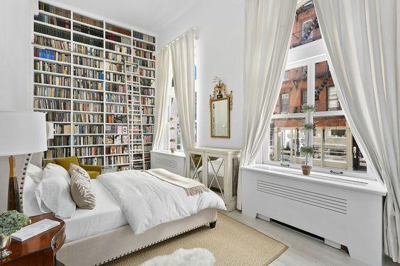 A High Bookshelf for White Bedroom