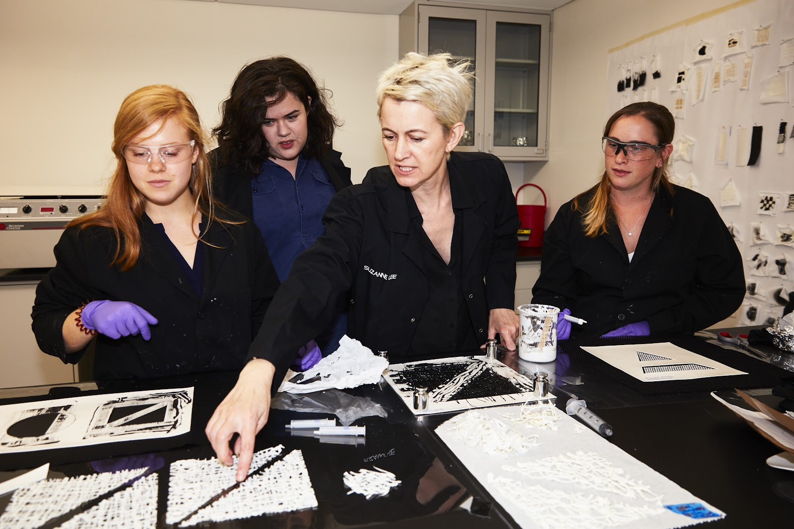 Modern Meadow's design team working on Zoa™ prototypes (from left to right): Callie Clayton, Amy Congdon, Suzanne Lee, Morgan Schneider. 2017. Credit: Modern Meadow.
