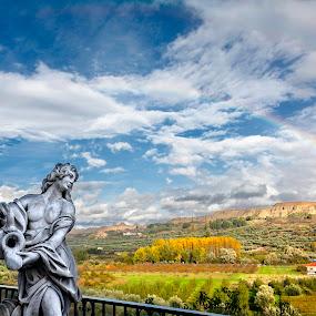 Me quedé de piedra mirando el arcoiris by Jesús Sánchez Ibáñez - Landscapes Prairies, Meadows & Fields