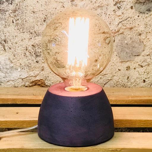 lampe béton couleur violet forme de dôme design création fait-main en atelier français