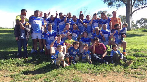 The Blues: The Narrabri Blues reserve grade side with fans after their 22-18 win over North Tamworth in the major semi-final, back, Terry Hynch, Jeff Harvey Snr, Kevin Condran, Kyle Adams, Marty Dennis, Allan Whitmore, Blake Hilderson, Nathan French, Matt Stanford, Dylan Harradine, Andrew Harvey, middle, Tyson Hill, Ashley Hynch, Steven Yorkshire, Jarrod Adams, Joel Hogan, Pat Mowle, Normie Lawler, Kaleb Mowle, Troy Ward, Michael Knox, Shaun Fogarty, Lewis Fogarty, front, Cody French, Isaac Hynch, Levi French, Jeff Harvey Jnr and Callum Lawler.
