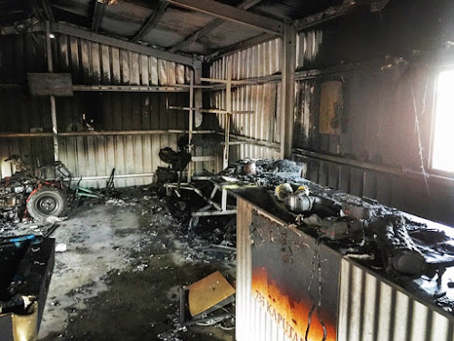Some of the damage inside a Kaputar Road shed damaged by fire on Tuesday evening