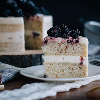 Blackberry Hazelnut Cake with Cream Cheese Frosting.
