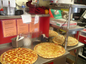 Photo: Stocking up with Big Hot Slices for the 1:30am to 3:30am rush in the summer nights. Those hours are the mad-cow-after-bars-rush rush mania for slices. NomNomNomNommmNomNommNommm! Come visit us late-nite to see this mayhem!