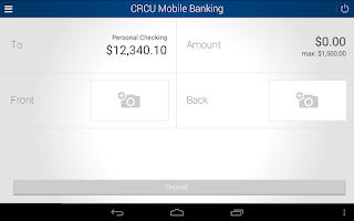 Screenshot of CRCU Mobile Banking