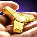 Golden fidget hand spinner icon