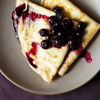 Crepes with Lemon Curd & Blueberry Compote.
