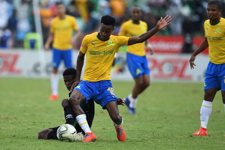 Themba Zwane of Mamelodi Sundowns in action with Neo Maema of Bloemfontein Celtics during the Absa Premiership match between Mamelodi Sundowns and Bloemfontein Celtic at Loftus Versfeld on March 02, 2019 in Pretoria, South Africa.