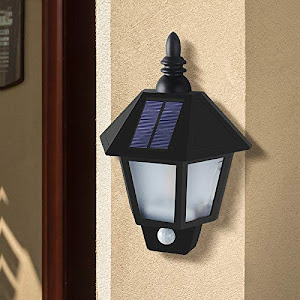 Felinar solar cu 2 functii, lumina alba si efect flacara