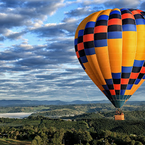 Floating on Air by Susan Marshall - Landscapes Cloud Formations ( clouds, hot air balloon, landscape, ballon,  )