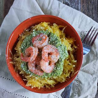 Roasted Spaghetti Squash with Creamy Pesto & Shrimp.