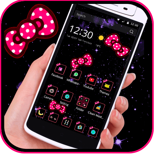 Bow Knot Pink Dot Solemn Theme Apps On Google Play