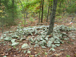 Photo: Cairn #7 - Most cobbles moved downhill.  Still the grade level remains covered.
