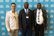 Warren Farrer (Do More Foundation executive), Johan Mkhatshwa (mayor) and Den Ngwenya