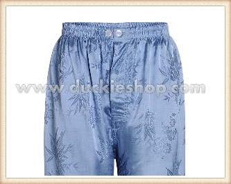กางเกงใส่นอน ชุดนอนผู้ชายขายาวผ้าแพรจีนแท้เอวยาง ขนาดใหญ่พิเศษ XXL สีเงิน